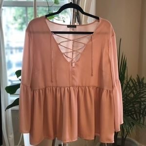 Dusty Rose Blouse with Lace-Up Neckline